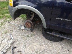 replace a sway bar by first removing the wheel