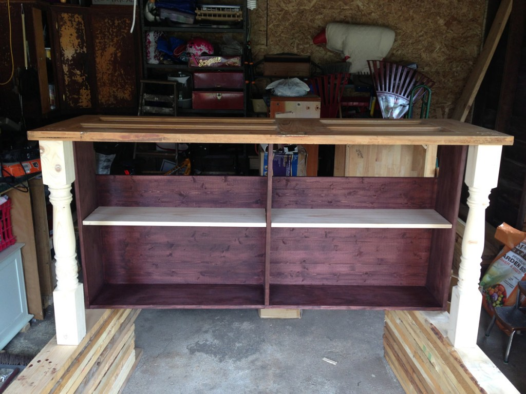 Desk is fully assembled and ready to go inside!