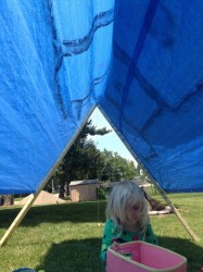 simple tarp tent provides shade