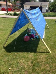 How to make a simple tent from a tarp.