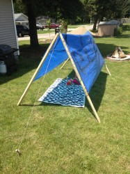 Simple tent made from a tarp.