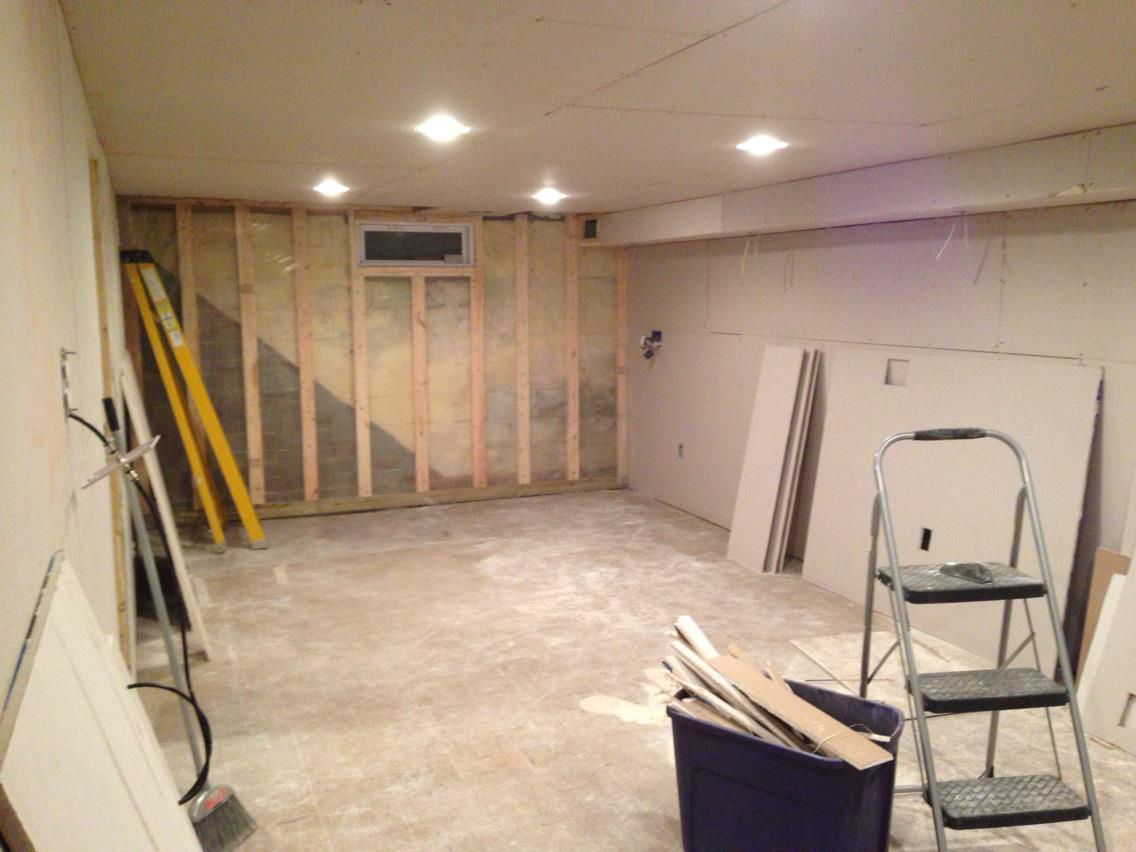 Drywall The Basement Before Installing The Stiars Handy