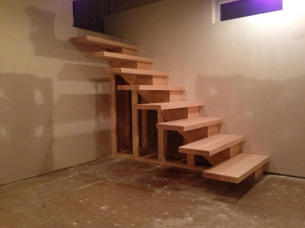 Finished floating stairs