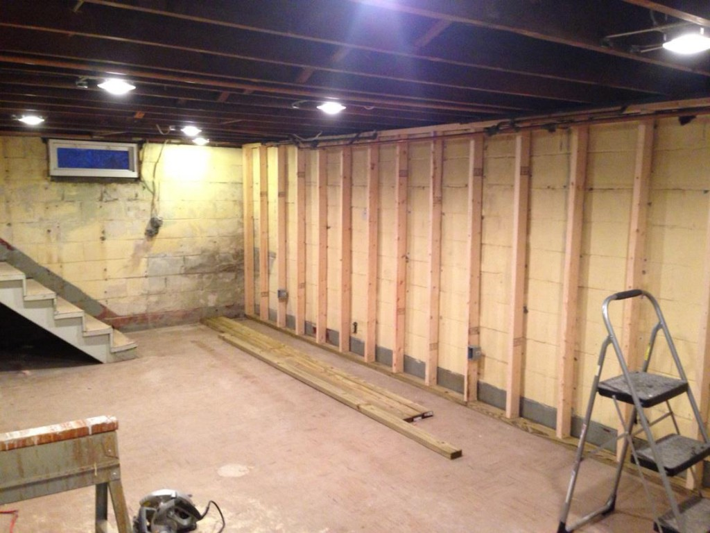 Studding out the basement handy father for How to build floating walls in basement