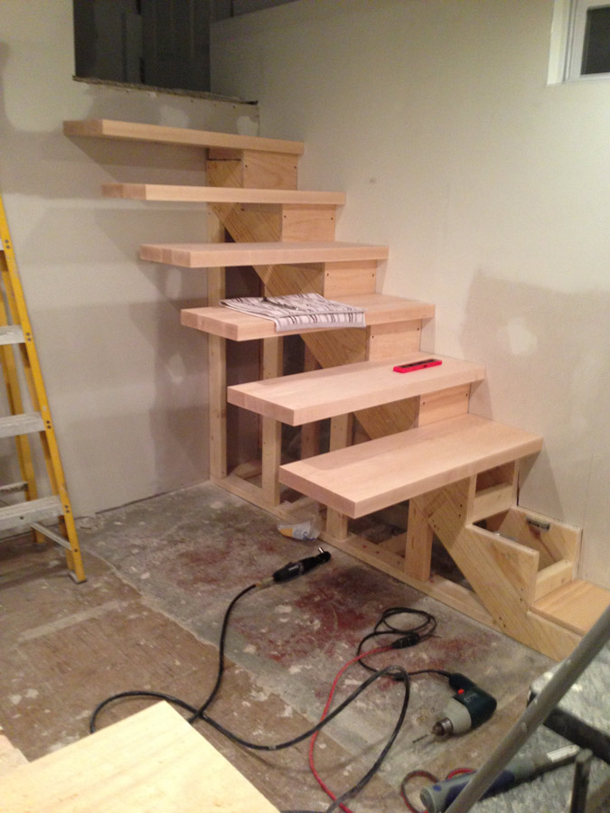 Floating Stairs almost complete, do it yourself floating stairs