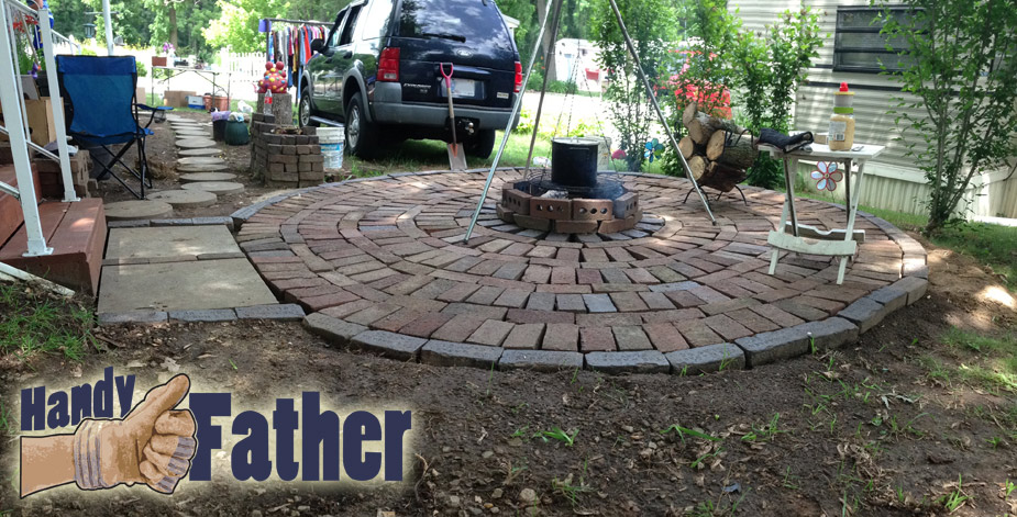 Diy brick patio walkway fire pit handy father for Diy brick projects