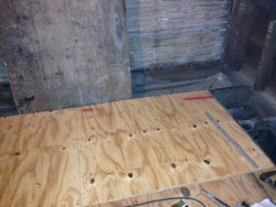 subfloor and basement door.