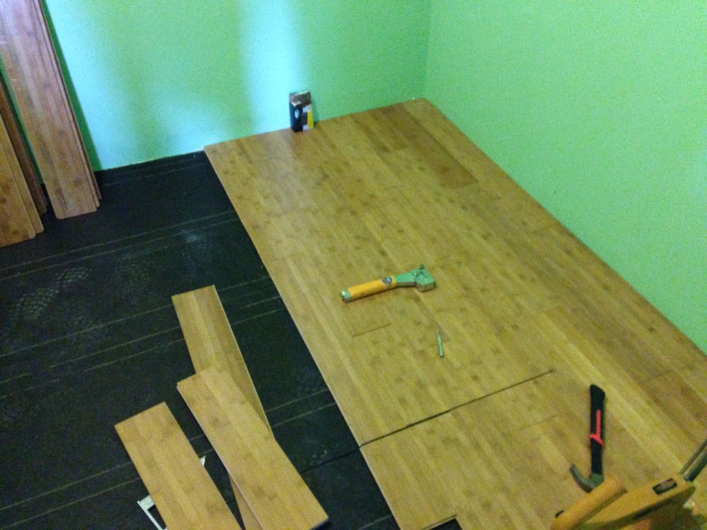 How to install bamboo hardwood flooring part 3 of pantry for Installing bamboo flooring